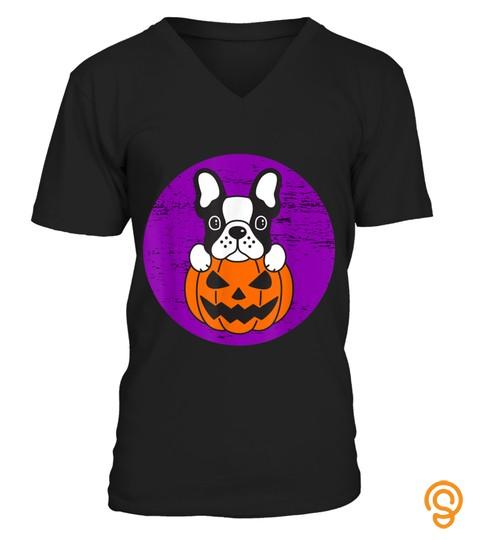 Halloween Pumpkin Dog Bulldog Moon Funny