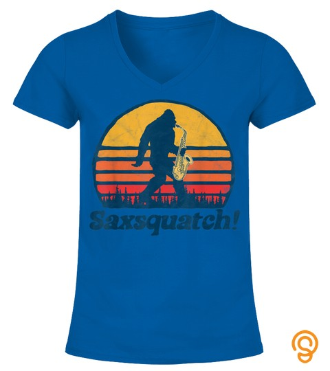 Saxsquatch! Funny Bigfoot Saxophone Retro Sun Graphic T Shirt