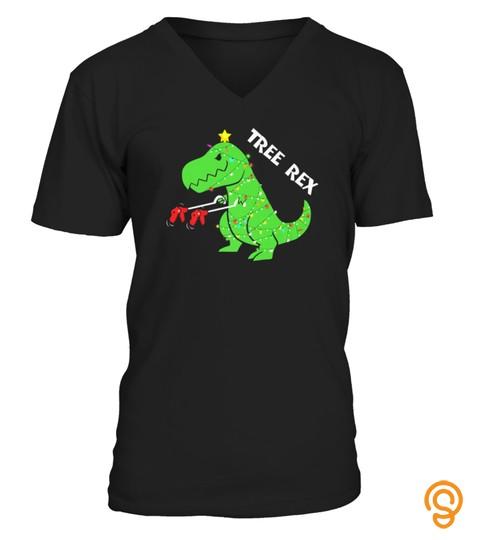 Tree Rex Tshirt  Funny Christmas Dinosaur Trex Tshirt   Hoodie   Mug (Full Size And Color)