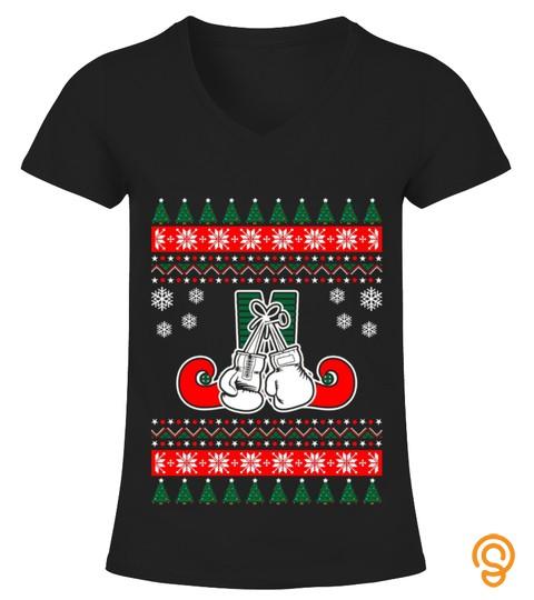 Kids Boxing Ugly Christmas Sweater T Shirt 12 Black