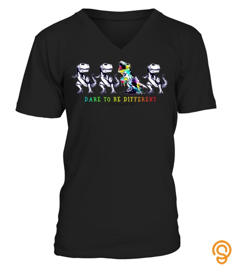 DARE TO BE DIFFERENT DINOSAUR AUTISM AWARENESS T SHIRT