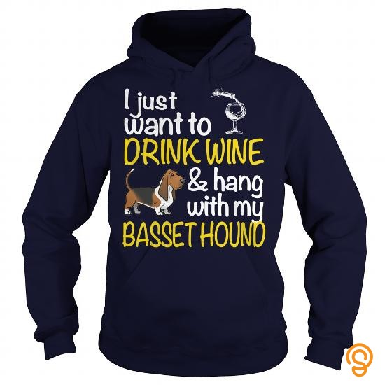 trendy-drink-wine-with-my-basset-hound-tee-shirts-graphic