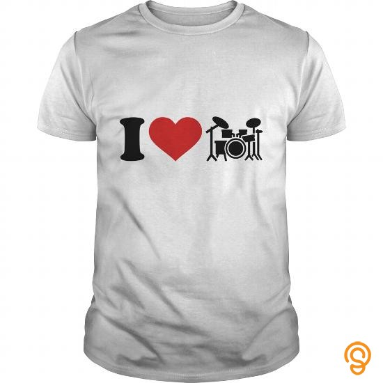 Fitted I love Drums Tee Shirts Size Xxl