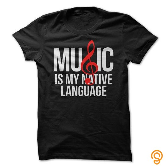 Discounted Music Is My Native Language  White  Red Text Tee Shirts Clothes