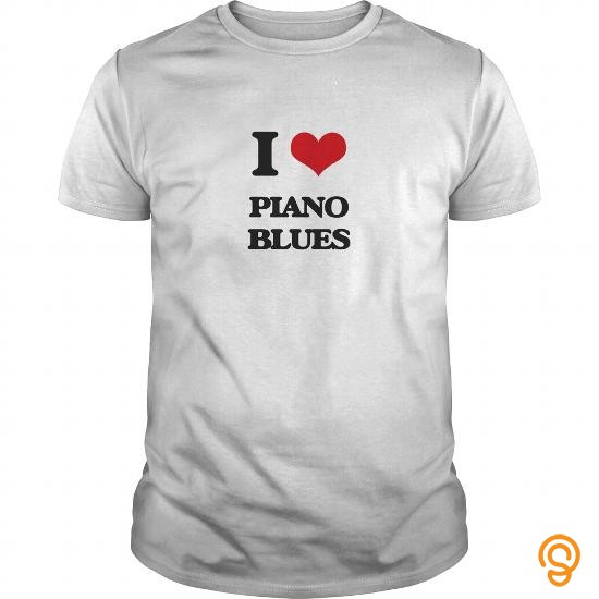 Boho Chic I Love PIANO BLUES T Shirts Sayings
