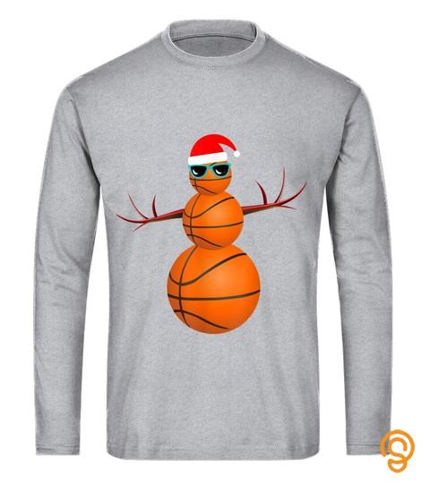 Christmas Basketball Snowman Santa Big Xmas Baller Gift T Shirt