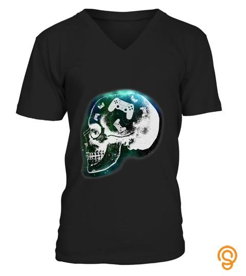 Mind Controller Skull Gaming Gamer Mens Boys Teens T Shirt