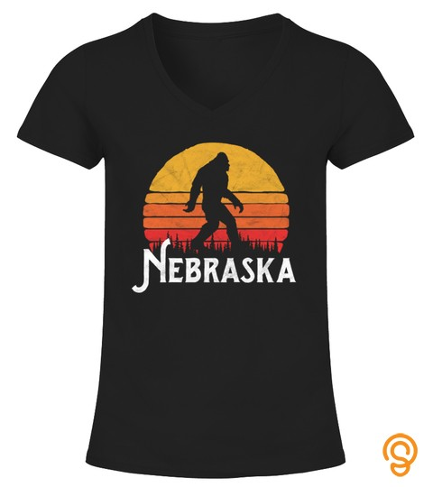 Retro Nebraska Bigfoot Silhouette Sun Tshirt   Hoodie   Mug (Full Size And Color)